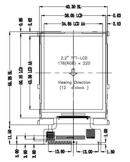 1.44 inch 128 x 128 Transmissive Color TFT Display