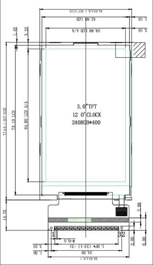 3 inch 240 x 400 Transmissive Color TFT Display
