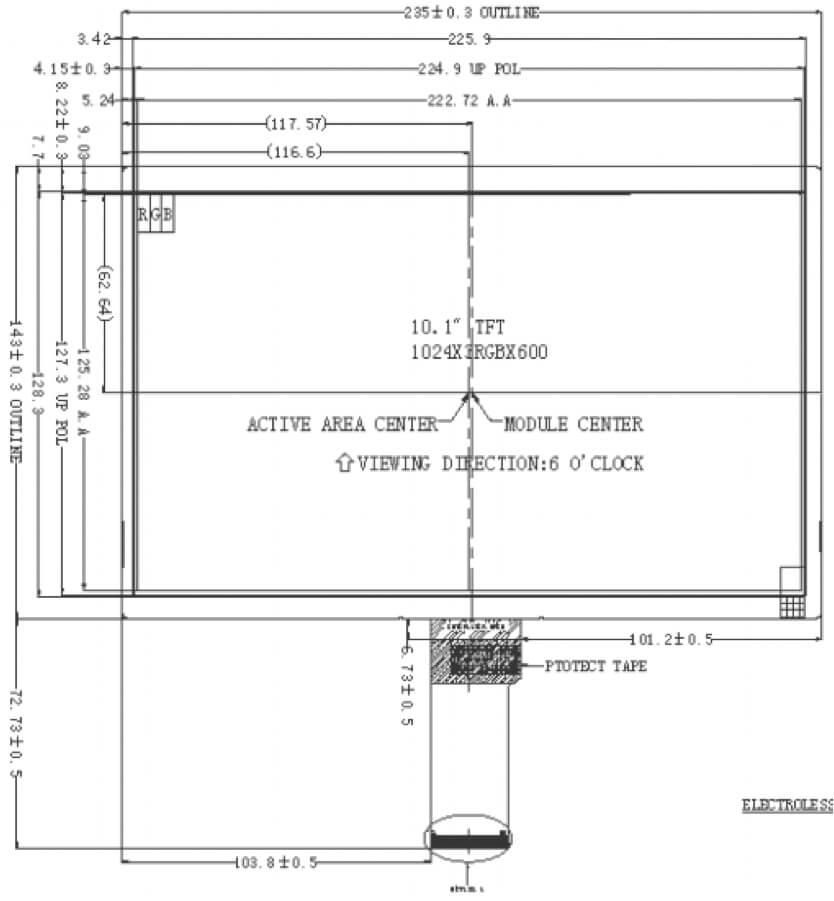 10.1 inch 1024 x 600 Transmissive Color TFT Display