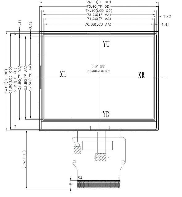 3.5 inch 320 x 240 Transmissive Color TFT Display