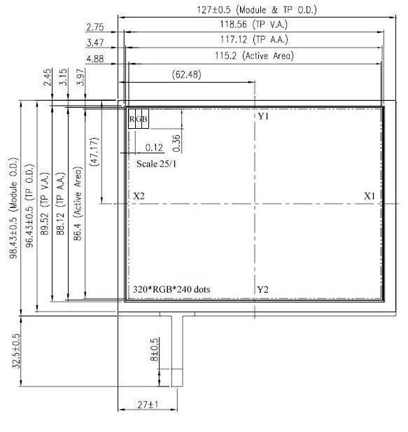 5.7 inch 320 x 240 Transmissive Color TFT Display