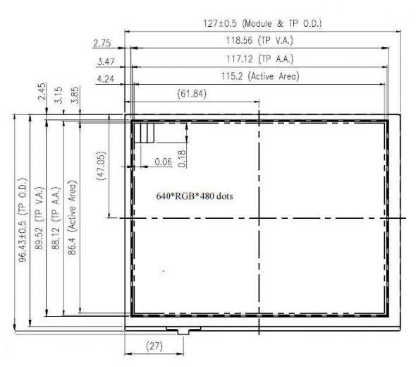 5.7 inch 640 x 480 Transmissive Color TFT Display