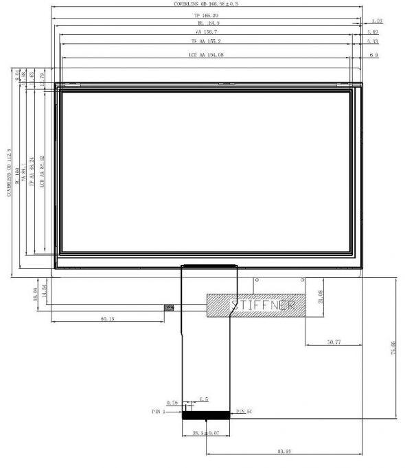 7.0 inch 800 x 480 Transmissive Color TFT Display
