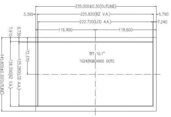 10.10 inch 1024 x 600 Transmissive Color TFT Display