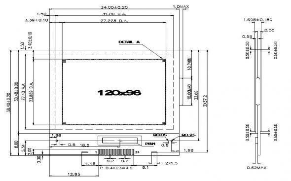 1.40 inch 120 x 96 Graphic LCD Display