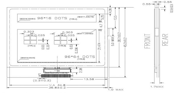 1.70 inch 96 x 80 Graphic LCD Display
