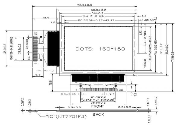 2.60 inch 160 x 150 Graphic LCD Display