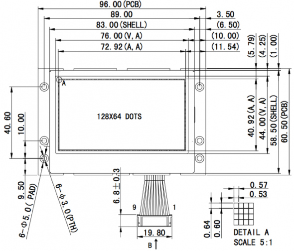 3.30 inch 128 x 64 Graphic LCD Display