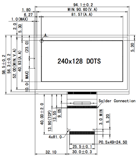 3.60 inch 240 x 128 Graphic LCD Display