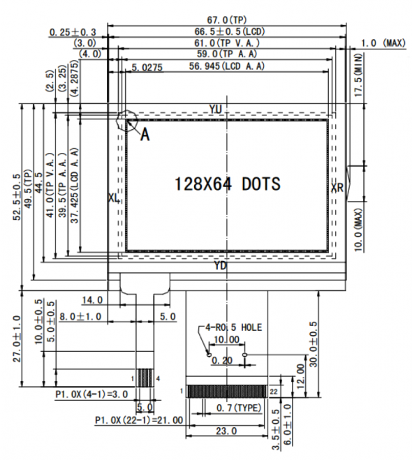 2.70 inch 128 x 64 Graphic LCD Display