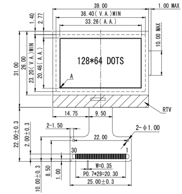 1.50 inch 128 x 64 Graphic LCD Display
