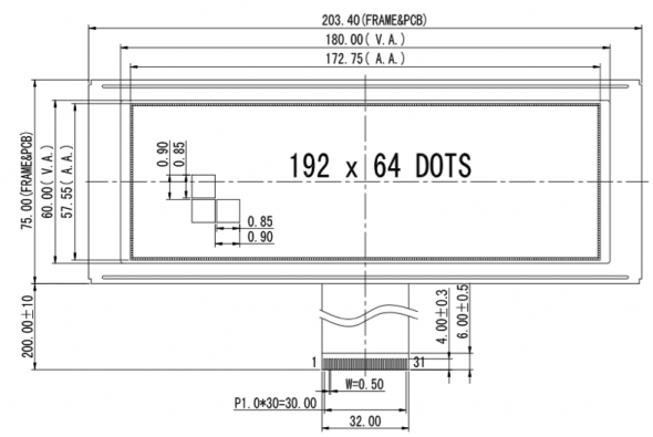 7.20 inch 192 x 64 Graphic LCD Display