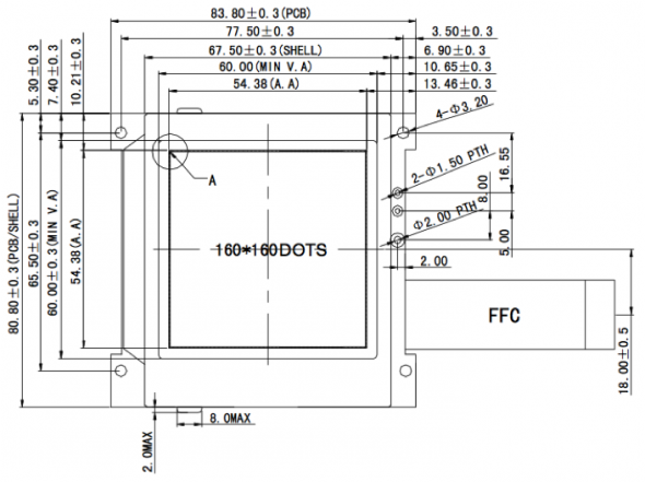 3.0 inch 160 x 160 Graphic LCD Display