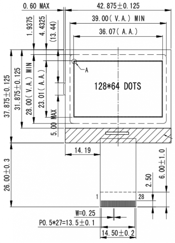 1.70 inch 128 x 64 Graphic LCD Display
