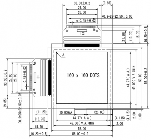 2.50 inch 160 x 160 Graphic LCD Display