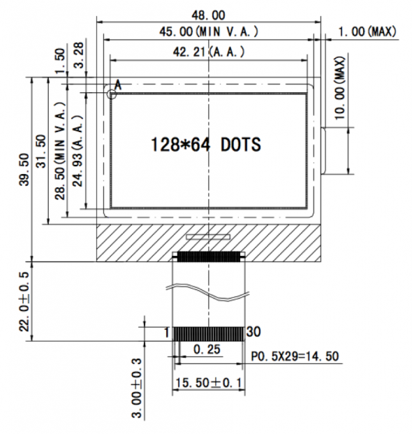1.90 inch 128 x 64 Graphic LCD Display