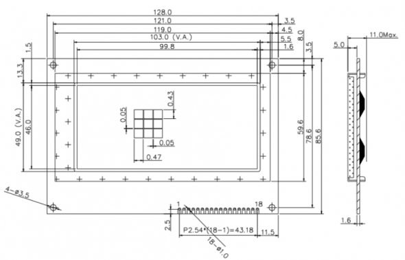 4.30 inch 192 x 96 Graphic LCD Display
