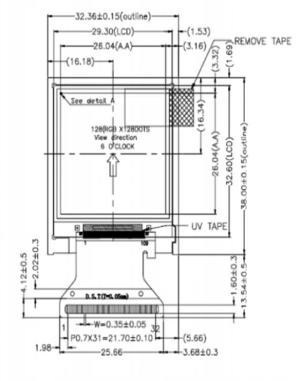 1.5 inch 128x128 Transmissive Color TFT Display