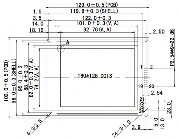 4.70 inch 160 x 128 Graphic LCD Display
