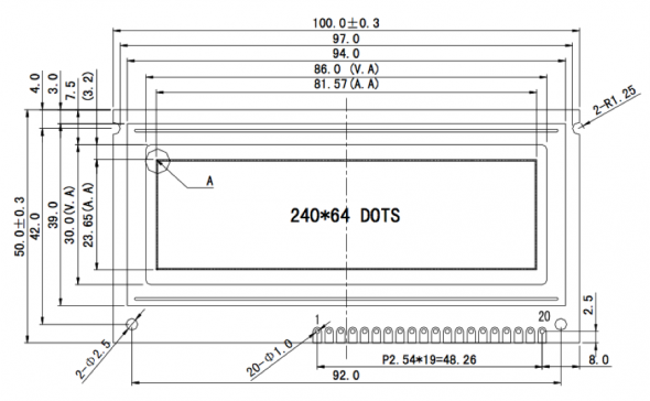 3.30 inch 240 x 64 Graphic LCD Display
