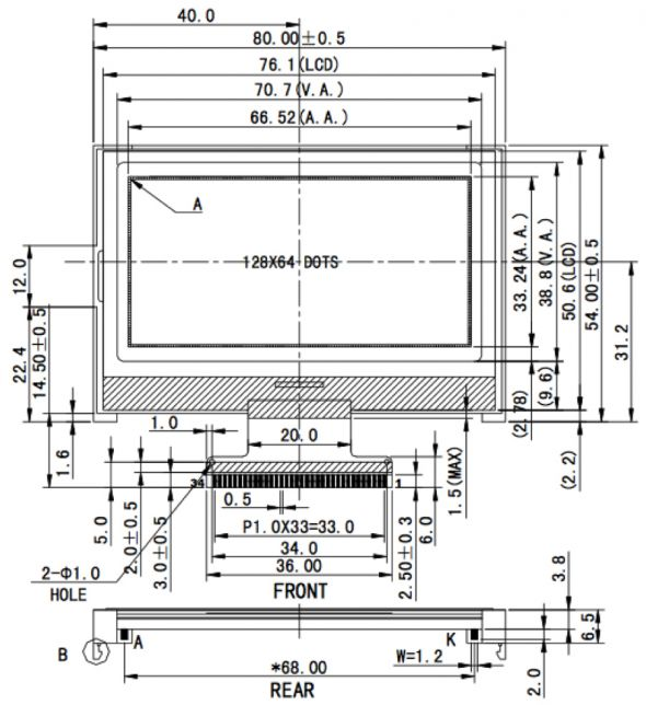 2.90 inch 128 x 64 Graphic LCD Display