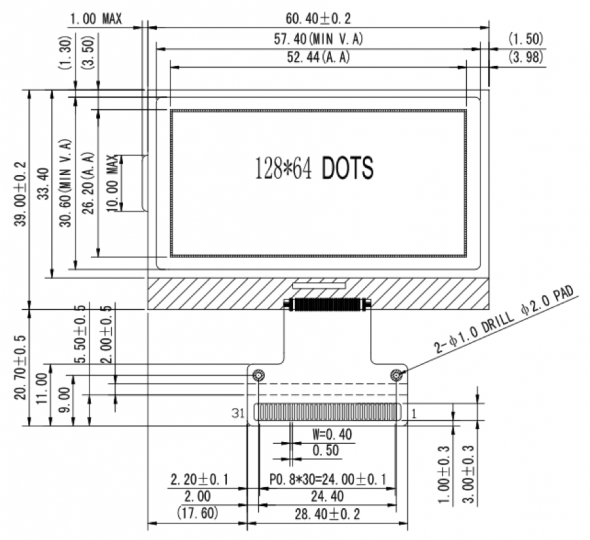 2.30 inch 128 x 64 Graphic LCD Display