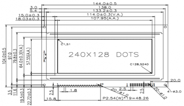 4.80 inch 240 x 128 Graphic LCD Display
