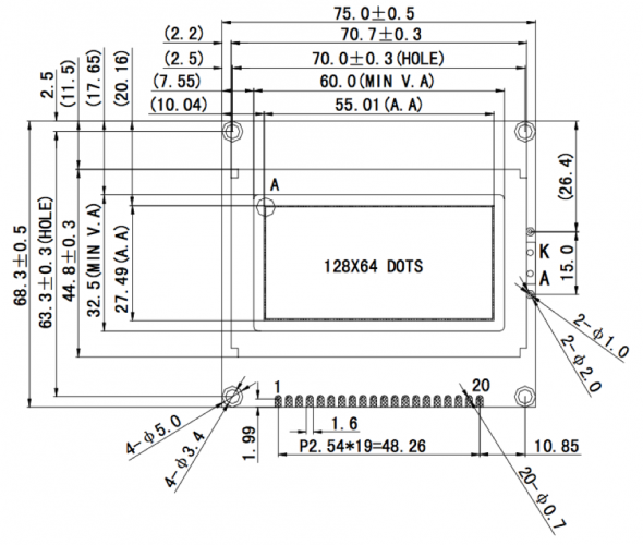 2.40 inch 128 x 64 Graphic LCD Display