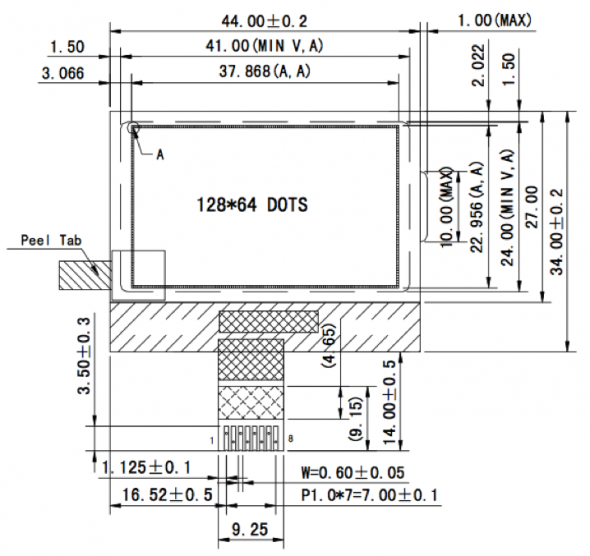 1.80 inch 128 x 64 Graphic LCD Display